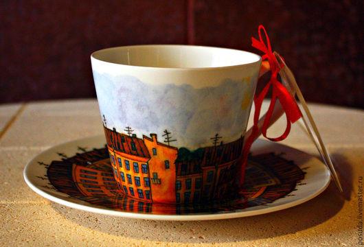 """Сервизы, чайные пары ручной работы. Ярмарка Мастеров - ручная работа. Купить чайная пара """"Дома Петербурга"""". Handmade. Подарок, для себя"""