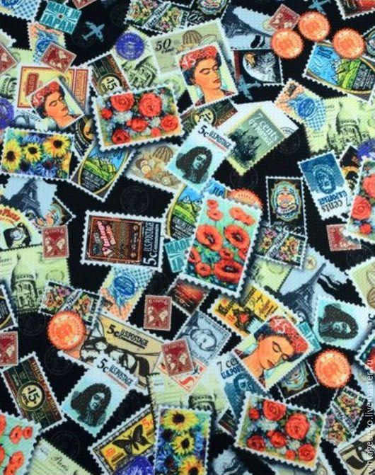 Шитье ручной работы. Ярмарка Мастеров - ручная работа. Купить Фрида Кало, маки, подсолнухи - почтовые марки - трикотаж. Handmade.