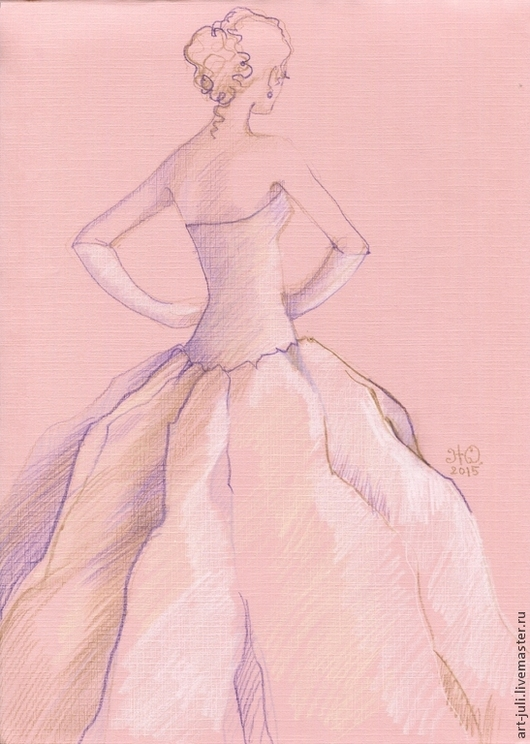 """Люди, ручной работы. Ярмарка Мастеров - ручная работа. Купить фэшн-иллюстрация """"Невеста 1"""". Handmade. Бледно-розовый"""