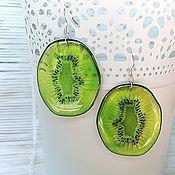 Украшения handmade. Livemaster - original item Transparent Earrings Resin Earrings Green Kiwi Earrings Fruit Earrings. Handmade.