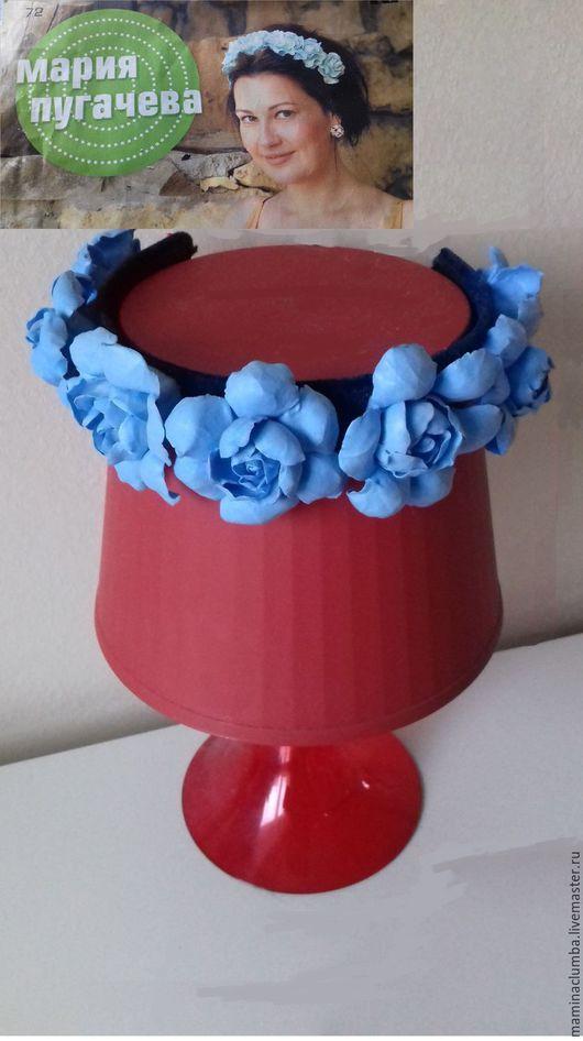 """Диадемы, обручи ручной работы. Ярмарка Мастеров - ручная работа. Купить Обруч для волос с цветами из легкой полимерной глины """"Голубая мечта"""". Handmade."""