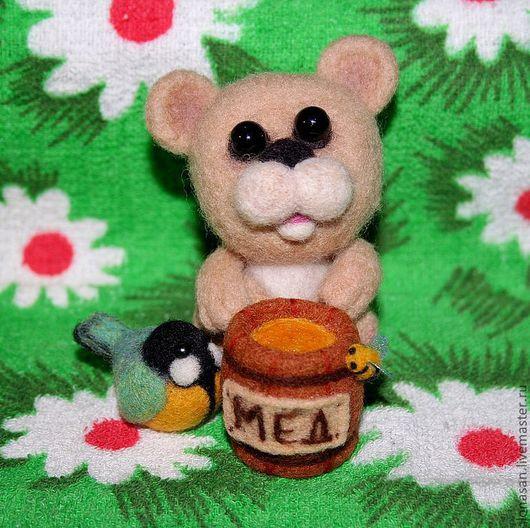 Игрушки животные, ручной работы. Ярмарка Мастеров - ручная работа. Купить Мишка из шерсти (сухое валяние). Handmade. Мишка, бежевый