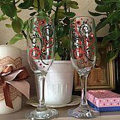Свадебный салон ручной работы. Ярмарка Мастеров - ручная работа Свадебные бокалы. Handmade.