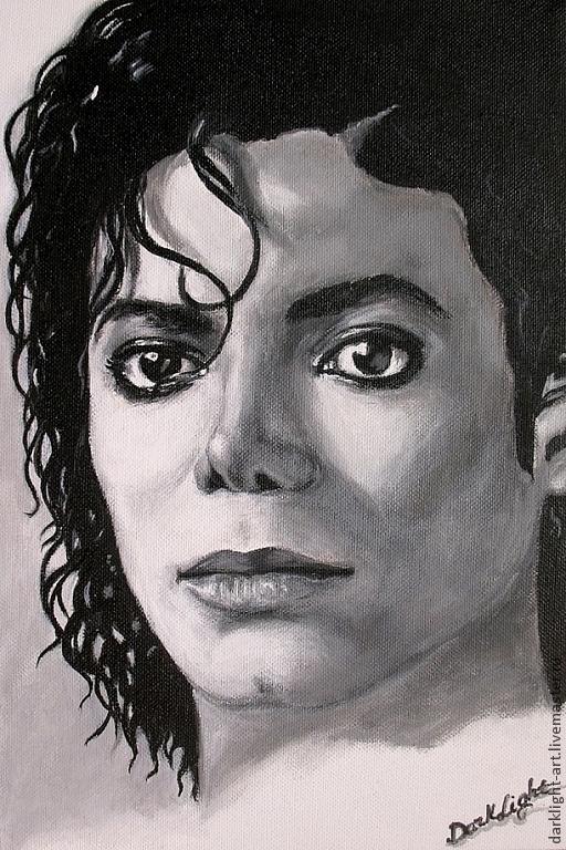 Люди, ручной работы. Ярмарка Мастеров - ручная работа. Купить Картина Майкл Джексон. Handmade. Белый, картины, арт
