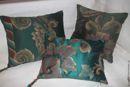 Текстиль, ковры ручной работы. Ярмарка Мастеров - ручная работа. Купить Декоративные наволочки из 100% шелка. Handmade. Тёмно-зелёный