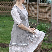 Одежда ручной работы. Ярмарка Мастеров - ручная работа Платье пудрового цвета в горошек. Handmade.