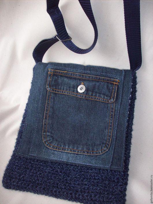 Женские сумки ручной работы. Ярмарка Мастеров - ручная работа. Купить Джинсово-вязанная сумочка. Handmade. Синий, рукоделие