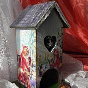 """Для дома и интерьера ручной работы. Ярмарка Мастеров - ручная работа Чайный домик """"Без кота и жизнь не та"""". Handmade."""