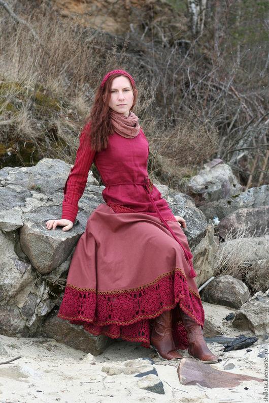 Льняная юбка, юбка бохо, юбка с кружевом, льняные юбки и платья ручной работы, автор Юлия Льняная сказка
