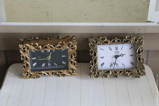 Персональные подарки ручной работы. Ярмарка Мастеров - ручная работа. Купить Настольные винтажные часы-зеркало. Handmade. Часы, фоторамка