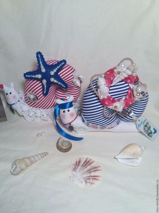Куклы Тильды ручной работы. Ярмарка Мастеров - ручная работа. Купить Улитки моряки, игольницы. Handmade. Синий, подарок