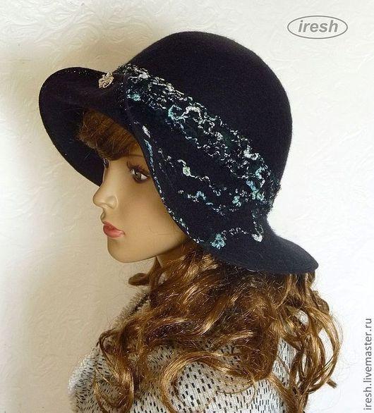 "Шляпы ручной работы. Ярмарка Мастеров - ручная работа. Купить Шляпа ""Грация"" чёрная валяная тёплая.. Handmade. Черный"
