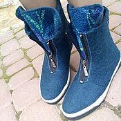 Обувь ручной работы. Ярмарка Мастеров - ручная работа Ботинки шерстяные авторские Ирисы синие. Handmade.