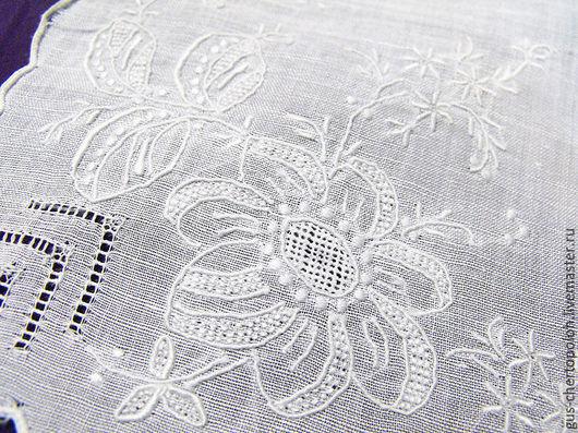 Винтажная одежда и аксессуары. Ярмарка Мастеров - ручная работа. Купить Батистовый платочек с вышивкой винтаж. Handmade. Платочек, белый цвет