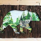 Для дома и интерьера manualidades. Livemaster - hecho a mano Bear big picture panels of aged boards. Handmade.