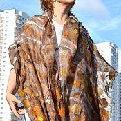 Scarves handmade. Livemaster - original item Beige felted scarf Stole of natural silk Free boho. Handmade.