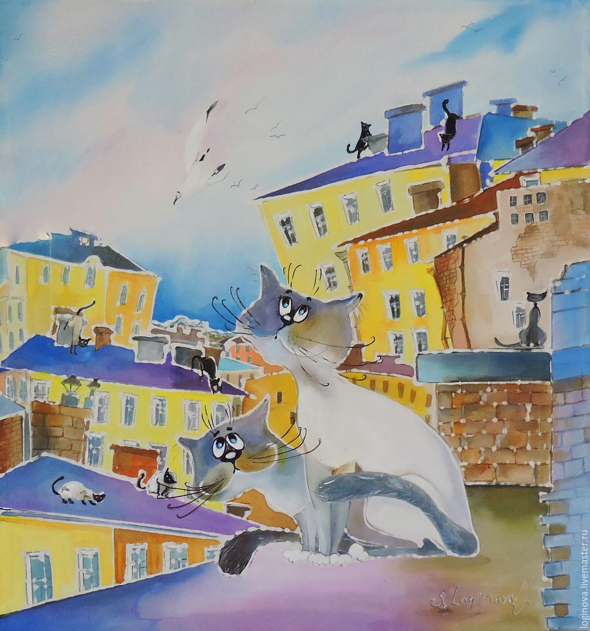 Кошка Гагарина -картина на шелке с кошками, Картины, Находка,  Фото №1