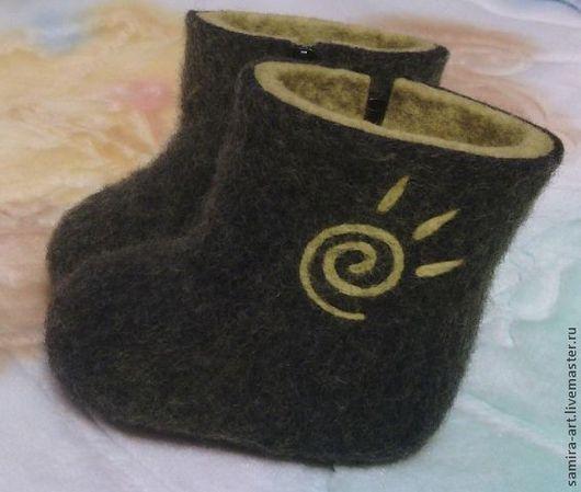 """Детская обувь ручной работы. Ярмарка Мастеров - ручная работа. Купить Валеночки детские """"Yo"""". Handmade. Темно-серый, войлок"""