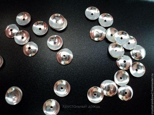 Для украшений ручной работы. Ярмарка Мастеров - ручная работа. Купить Шапочки для бусин 6 мм, за 1шт из серебра 925 пр, арт С349. Handmade.