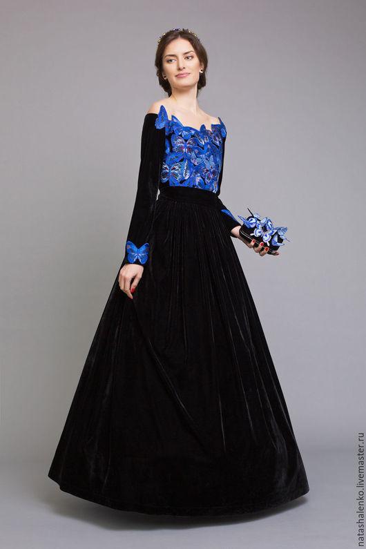 Платья ручной работы. Ярмарка Мастеров - ручная работа. Купить Платье из бархата с Бабочками. Handmade. Черный, расшитое, бархат