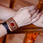 Украшения handmade. Livemaster - original item Leather bracelet set Brown autumn Black and brown. Handmade.