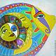 Животные ручной работы. Ярмарка Мастеров - ручная работа. Купить Рыбка-Всевидящее Око Панно-оберег с витражной росписью на диске. Handmade.