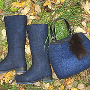 """Обувь ручной работы. Ярмарка Мастеров - ручная работа Валяные сапожки и сумка """"Осенняя ночь"""". Handmade."""