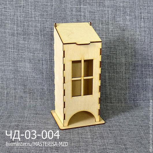 Заготовка для декупажа чайный домик с откидной крышкой ЧД-03-004. Форма окон - прямоугольные.\r\nМатериал: фанера 3 мм сорт 2/2