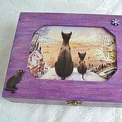Для дома и интерьера handmade. Livemaster - original item Winter Cat Jewelry Box with Velvet Lilac. Handmade.