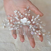 Свадебный салон handmade. Livemaster - original item Bridal comb and hairpins with pearls and mother of pearl