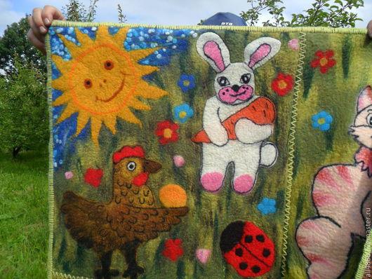 Текстиль, ковры ручной работы. Ярмарка Мастеров - ручная работа. Купить Валяный детский развивающий коврик. Handmade. Зеленый, кошка