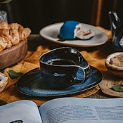 Посуда handmade. Livemaster - original item teacups: Frigga mug 200 ml and saucer. Handmade.
