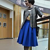 Одежда ручной работы. Ярмарка Мастеров - ручная работа Юбка миди, цвет индиго, габардин. Handmade.