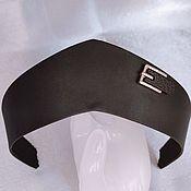 Русский стиль handmade. Livemaster - original item Kokoshnik band made of black matte eco-leather with a decorative strap. Handmade.