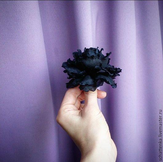 Цветы ручной работы. Ярмарка Мастеров - ручная работа. Купить Чёрная роза. Handmade. Роза, роза из шелка, натуральный шёлк