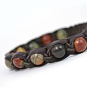 Украшения handmade. Livemaster - original item Shamballa bracelet made of leather with Picasso Jasper. Handmade.
