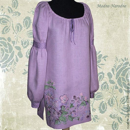 Модная одежда с ручной вышивкой. Творческое ателье modne-narodne. Льняное платье-туника с ручной вышивкой Яблоневый сад.