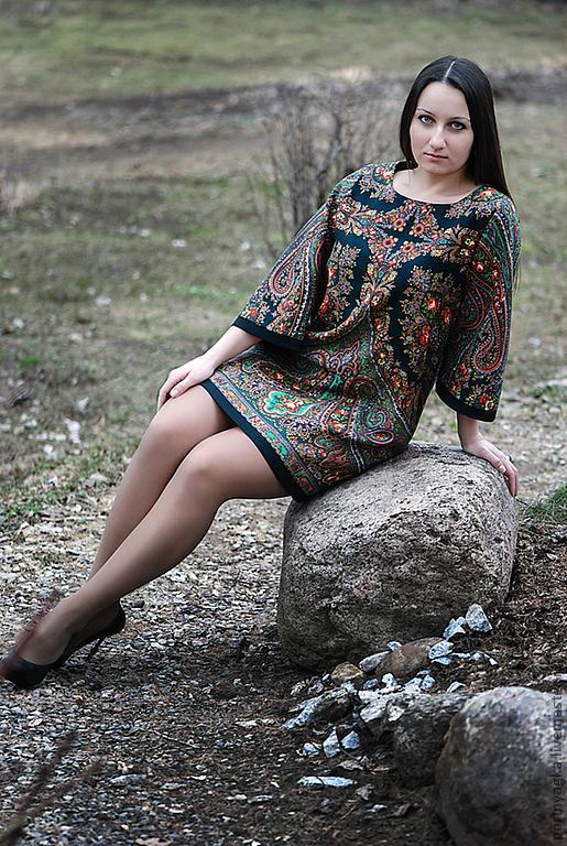 Платья ручной работы. Ярмарка Мастеров - ручная работа. Купить Платье-туника из ПП платка Волшебница( ТОЧНЫЙ ПОВТОР НЕВОЗМОЖЕН). Handmade.