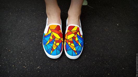 """Обувь ручной работы. Ярмарка Мастеров - ручная работа. Купить Слипоны """"Геометрия солнца"""". Handmade. Комбинированный, роспись кед"""