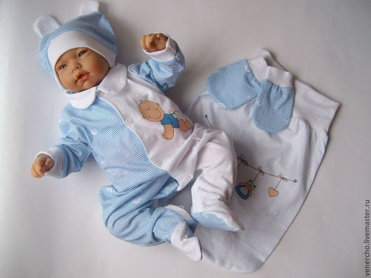 """Для новорожденных, ручной работы. Ярмарка Мастеров - ручная работа. Купить Комплект для малыша """"Полосочки"""". Handmade. Голубой, термотрансфер, рибана"""
