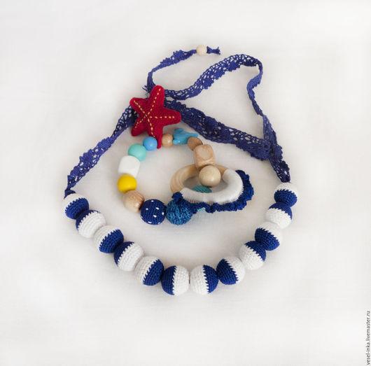 Комплект слингобусы и грызунок можжевеловый Морская звезда. Подарок молодой маме и малышу.
