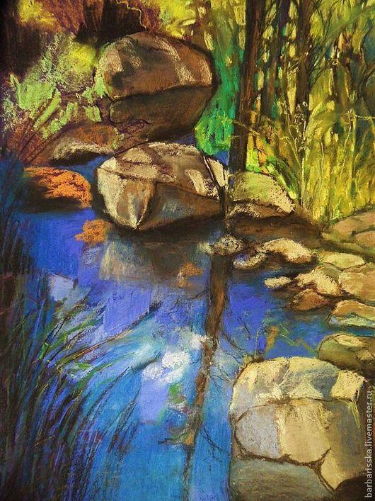 """Пейзаж ручной работы. Ярмарка Мастеров - ручная работа. Купить """"Горная река"""". Handmade. Река, кипр, камни, солнце, лето"""