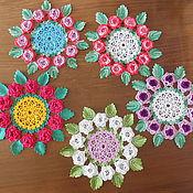 Для дома и интерьера ручной работы. Ярмарка Мастеров - ручная работа салфетка с цветами. Handmade.