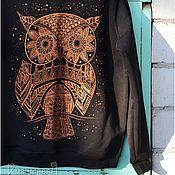 Одежда ручной работы. Ярмарка Мастеров - ручная работа Сова. Свитшот с ручной росписью.. Handmade.