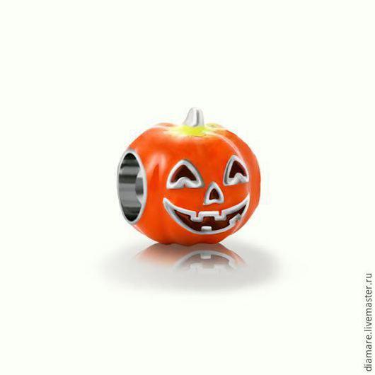 Серебряный шарм `Тыква на Хеллоуин`.Арт. 05-0227.