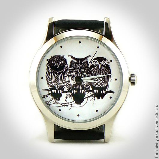 Часы наручные `Трое пернатых`. Необычные наручные часы ручной работы.