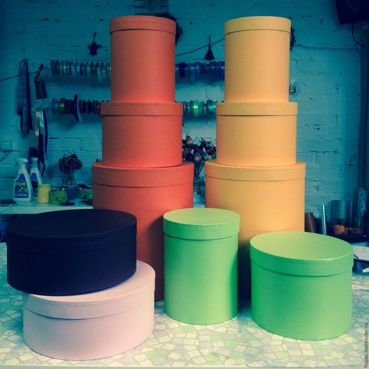 Интерьерные композиции ручной работы. Ярмарка Мастеров - ручная работа. Купить Шляпные коробки для цветов. Handmade. Шляпная коробка