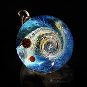 "Украшения handmade. Livemaster - original item Pendant balloon ""Let`s go!"" Space Galaxy Nebula. Blue Planet. Universe. Handmade."