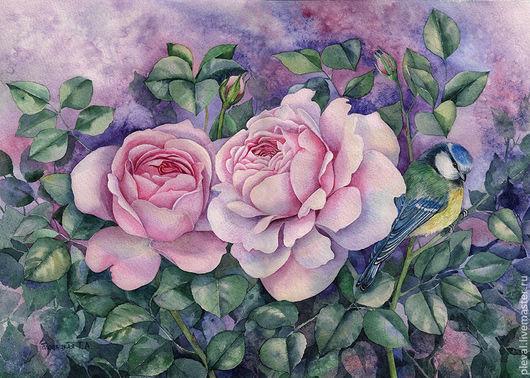 Картины цветов ручной работы. Ярмарка Мастеров - ручная работа. Купить Картина акварелью Две розовые розы. Handmade. Роза