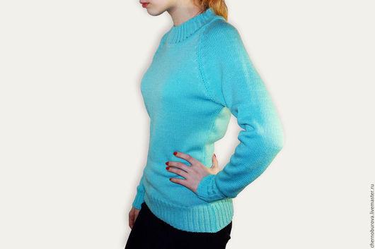 Кофты и свитера ручной работы. Ярмарка Мастеров - ручная работа. Купить Джемпер бирюзовый. Handmade. Джемпер женский, однотонный